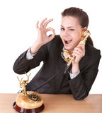 Beautiful woman calling by phone. Royalty Free Stock Photography
