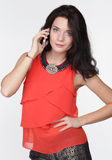 Beautiful woman calling by phone Royalty Free Stock Photos