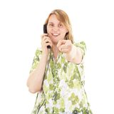 Beautiful woman calling somebody Royalty Free Stock Photography