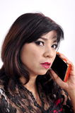 Beautiful woman calls with her mobile phone Stock Photo