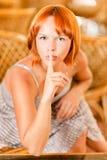 Beautiful woman calls for silence Royalty Free Stock Photos