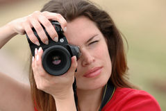 Beautiful woman with camera Royalty Free Stock Photo