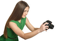 Beautiful woman with camera Royalty Free Stock Image