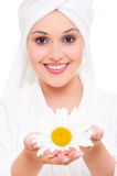 Beautiful woman with camomile Stock Photos