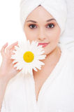Beautiful woman with camomile Royalty Free Stock Photos
