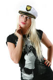 Beautiful woman in a captain's hat Royalty Free Stock Photo