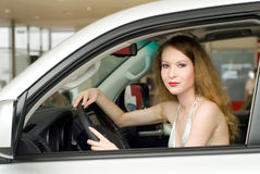 Beautiful woman at the car Stock Photo