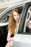 Beautiful woman at the car Royalty Free Stock Images