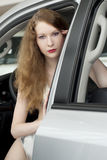 Beautiful woman in the car. Beautiful woman in the white car Stock Photo