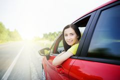 Beautiful woman in a car. Royalty Free Stock Image