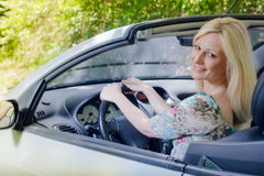 Beautiful woman in the car Royalty Free Stock Images