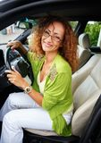 Beautiful woman in car Stock Photo