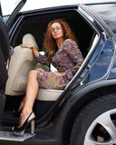 Beautiful woman in car Royalty Free Stock Image