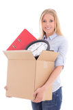 Beautiful woman with cardboard box ready for moving day isolated. On white background Royalty Free Stock Photo