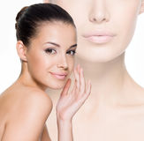Beautiful woman cares for the face Stock Photo