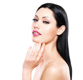 Beautiful woman cares of the skin face Stock Photography