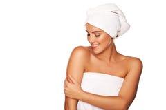 Beautiful woman caressing her skin Royalty Free Stock Photos