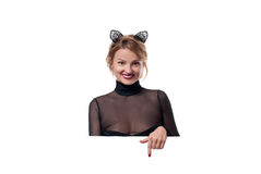Halloween concept. Woman with carnival cat ears Royalty Free Stock Photography