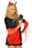 Beautiful woman in carnival costume of devil. Stock Photo