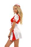 Beautiful woman in carnival costume. Nurse shape. Royalty Free Stock Photography