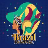 Beautiful woman in carnival costume with sticker style lettering of Brazil Carnival. stock illustration