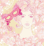 Beautiful woman with carnival mask Royalty Free Stock Photo