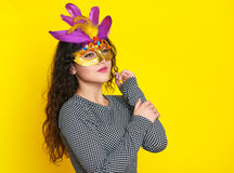 Beautiful woman with carnival mask, holiday fashion girl portraitLady Royalty Free Stock Images