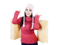 Beautiful woman carry shopping bags isolated Royalty Free Stock Photography