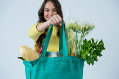 Beautiful woman carrying grocery bag royalty free stock images