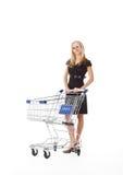 Beautiful woman  with  cart Royalty Free Stock Photos