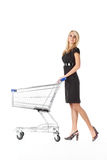 Beautiful woman with cart royalty free stock image