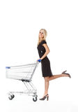 Beautiful woman  with  cart Stock Image