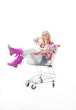 Beautiful woman  with  cart Stock Images