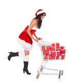 Beautiful Woman With Cart Royalty Free Stock Photos
