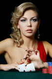 The beautiful woman with casino chips Stock Photos