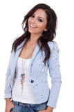 Beautiful woman with casual clothes. Beautiful woman, casual clothes with her hands in the pocket Royalty Free Stock Photography