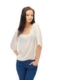 Beautiful woman in casual clothes Royalty Free Stock Image