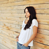 Beautiful woman in casual clothes outdoor Royalty Free Stock Image