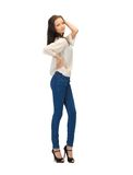 Beautiful woman in casual clothes Royalty Free Stock Images