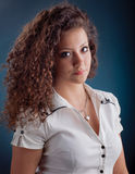 Beautiful woman with casual make up and curly hair Royalty Free Stock Image