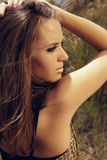 Beautiful woman with cat eye fashion make-up Royalty Free Stock Image