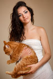 Beautiful woman with a cat Royalty Free Stock Image