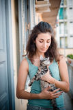 Beautiful woman with cats Royalty Free Stock Photos