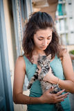 Beautiful woman with cats Royalty Free Stock Images