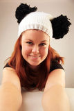 Beautiful woman. Beautiful Caucasian woman wearing a cute hat stock photo