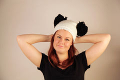 Beautiful woman. Beautiful Caucasian woman wearing a cute hat looking to the side Royalty Free Stock Photography