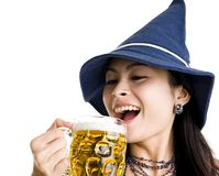 Beautiful woman celebrating with beer Stock Photo