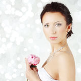 Beautiful woman on celebration background - bride, face Royalty Free Stock Images