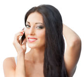 Beautiful woman with cell phone Royalty Free Stock Image