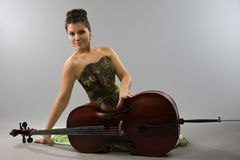 Beautiful woman with cello Royalty Free Stock Photo